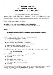 COMPTE RENDU DU CONSEIL DU 15 OCTOBRE 2020