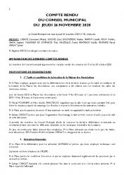 COMPTE RENDU DU CONSEIL DU 26 NOVEMBRE 2020