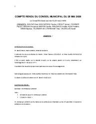 COMPTE RENDU DU CONSEIL DU 28 MAI 2020