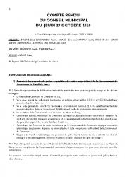 COMPTE RENDU DU CONSEIL DU 29 OCTOBRE 2020