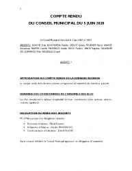 COMPTE RENDU DU CONSEIL DU 5 JUIN 2020