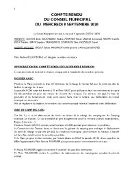 COMPTE RENDU DU CONSEIL DU 9 SEPTEMBRE 2020