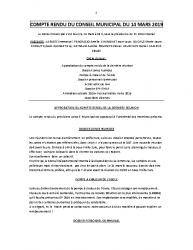 COMPTE RENDU DU CONSEIL MUNICIPAL DU 14 MARS 2019