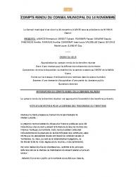 COMPTE RENDU DU CONSEIL MUNICIPAL DU 14 NOVEMBRE A 18H30