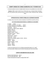 COMPTE RENDU DU CONSEIL MUNICIPAL DU 17 FEVRIER 2020