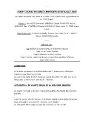COMPTE RENDU DU CONSEIL MUNICIPAL DU 18 JUILLET 2019