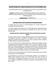 COMPTE RENDU DU CONSEIL MUNICIPAL DU 20 SEPTEMBRE 2018