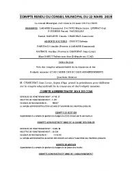 COMPTE RENDU DU CONSEIL MUNICIPAL DU 22 MARS 2019