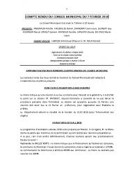 COMPTE RENDU DU CONSEIL MUNICIPAL DU 7 FEVRIER 2019